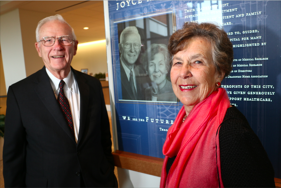 Major Donors Joyce and Roger Howe in front of their carved crystal tribute at The Christ Hospital — Cincinnati, Ohio