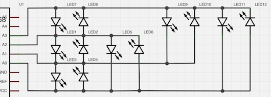 Schematic: Charlieplexing 12 LEDs with 4 GPIO Pins