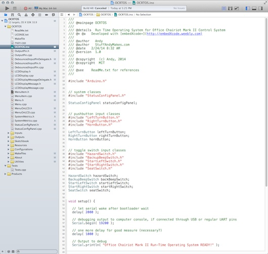 Office Chairiot Mark II firmware in C++ using Xcode and embedXcode+