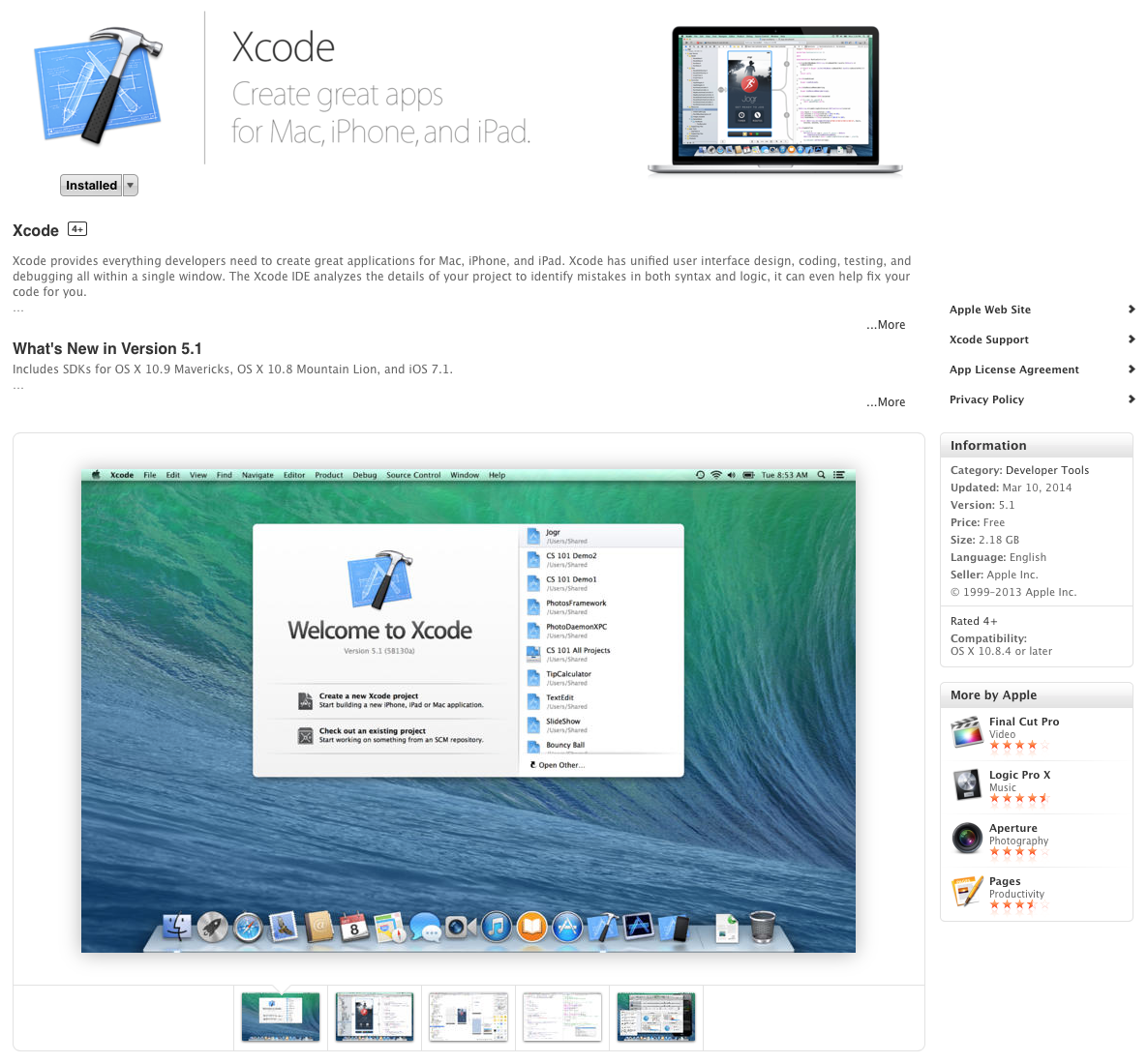 Download and install Xcode via the App Store app in OS X
