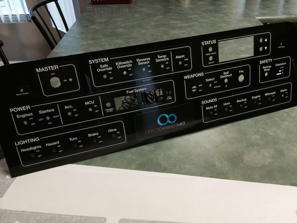 Office Chairiot Black Plastic Control Panel Front with Decals
