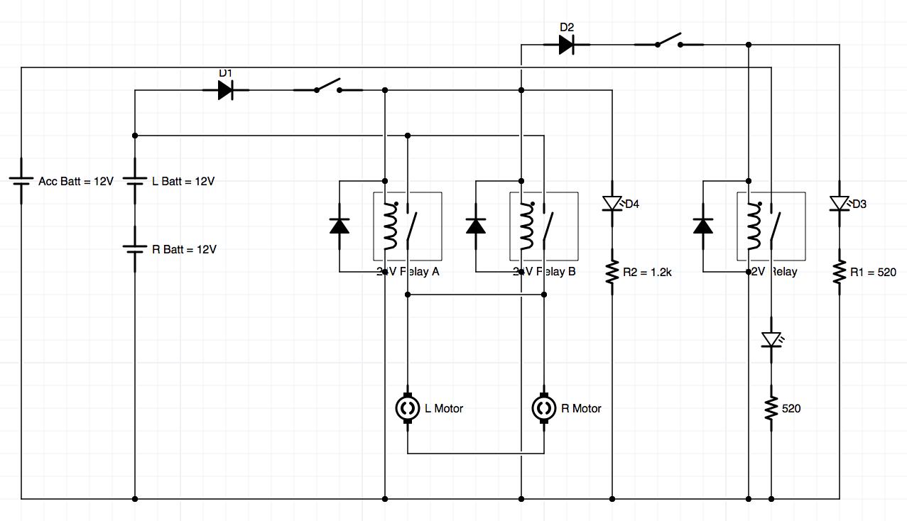 Power Board Schematic Rev 2 for Office Chairiot Mk II