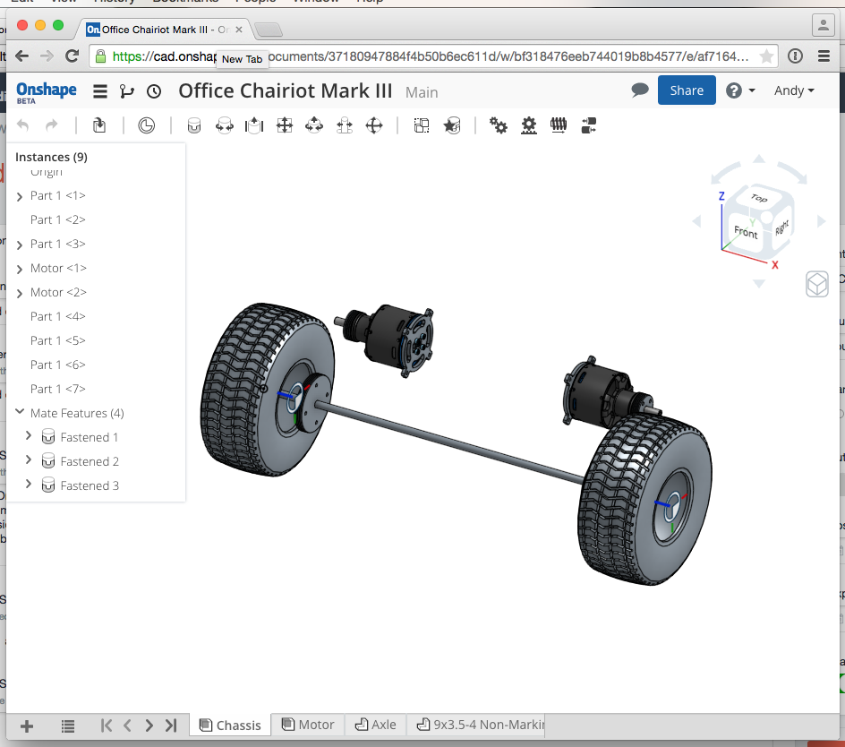 Onshape in the Chrome browser on a MacBook Pro laptop