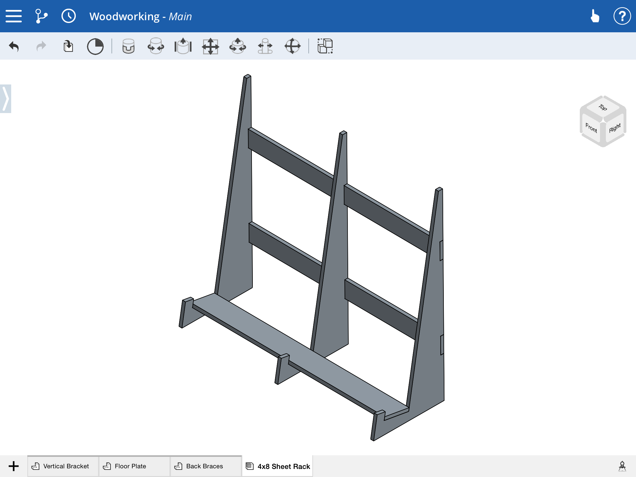 4'x8' panel holder design in Onshape cloud-based CAD