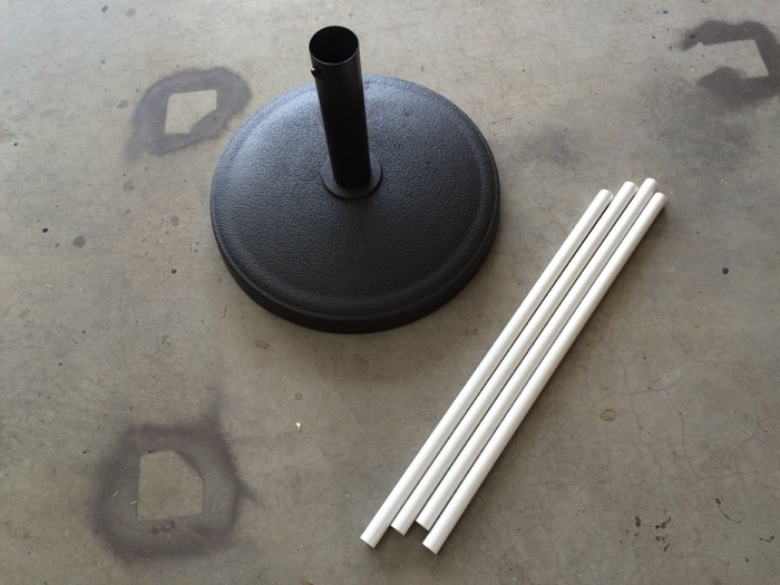 """Weighted umbrella stand and 24"""" long 1/2"""" schedule 40 PVC pipes"""