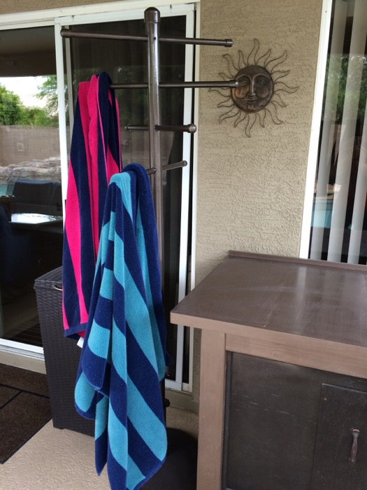 Our new swanky poolside towel tree rack thing