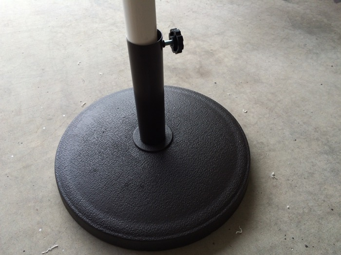 PVC stem inserted into umbrella stand
