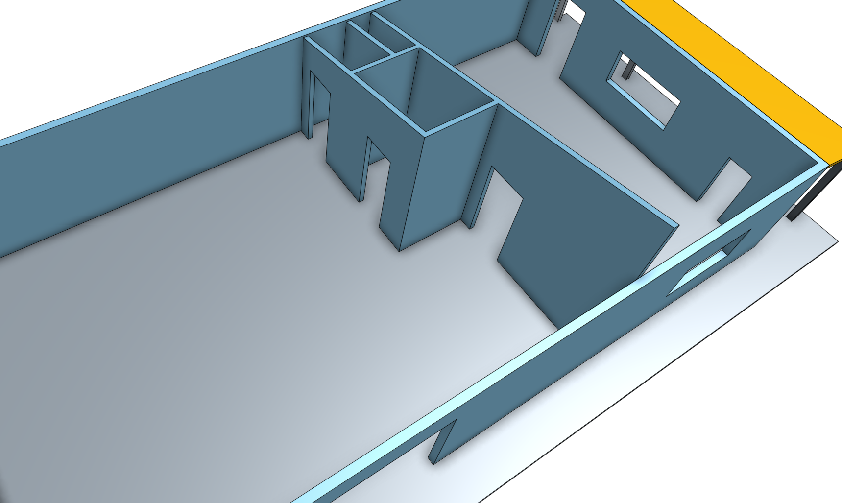 Detached workshop building, garage space with roof off