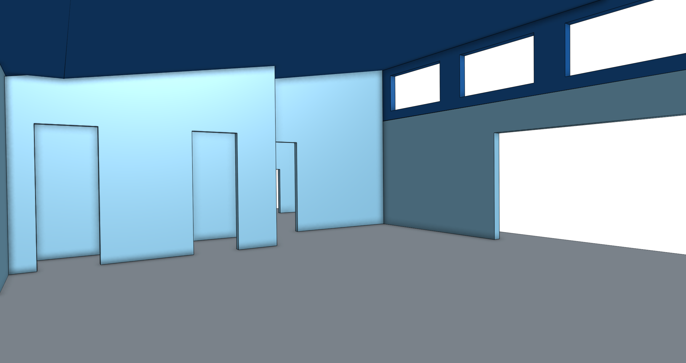 Eye-level view of garage space