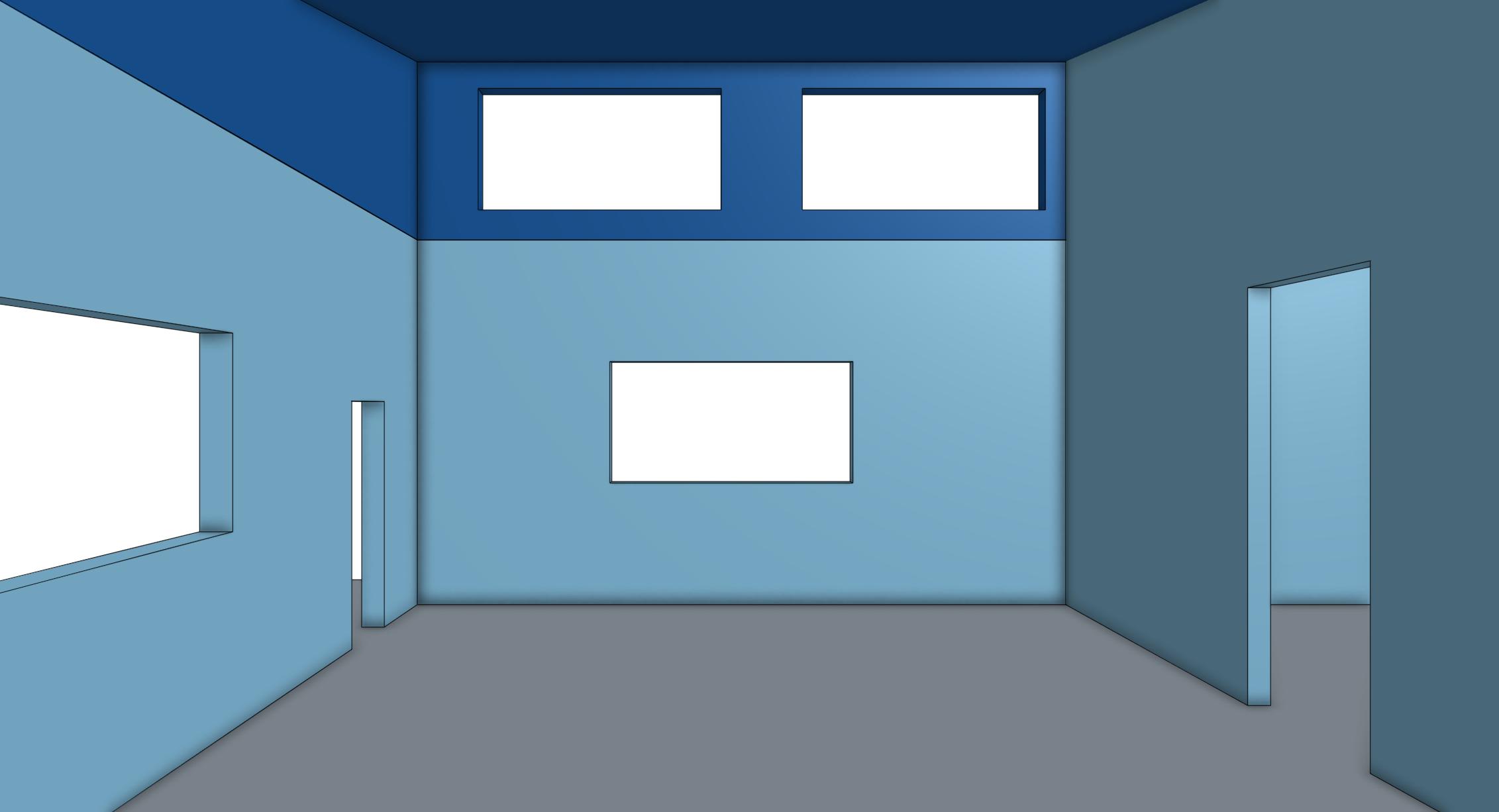 Eye-level view inside office space looking toward garage door side of building