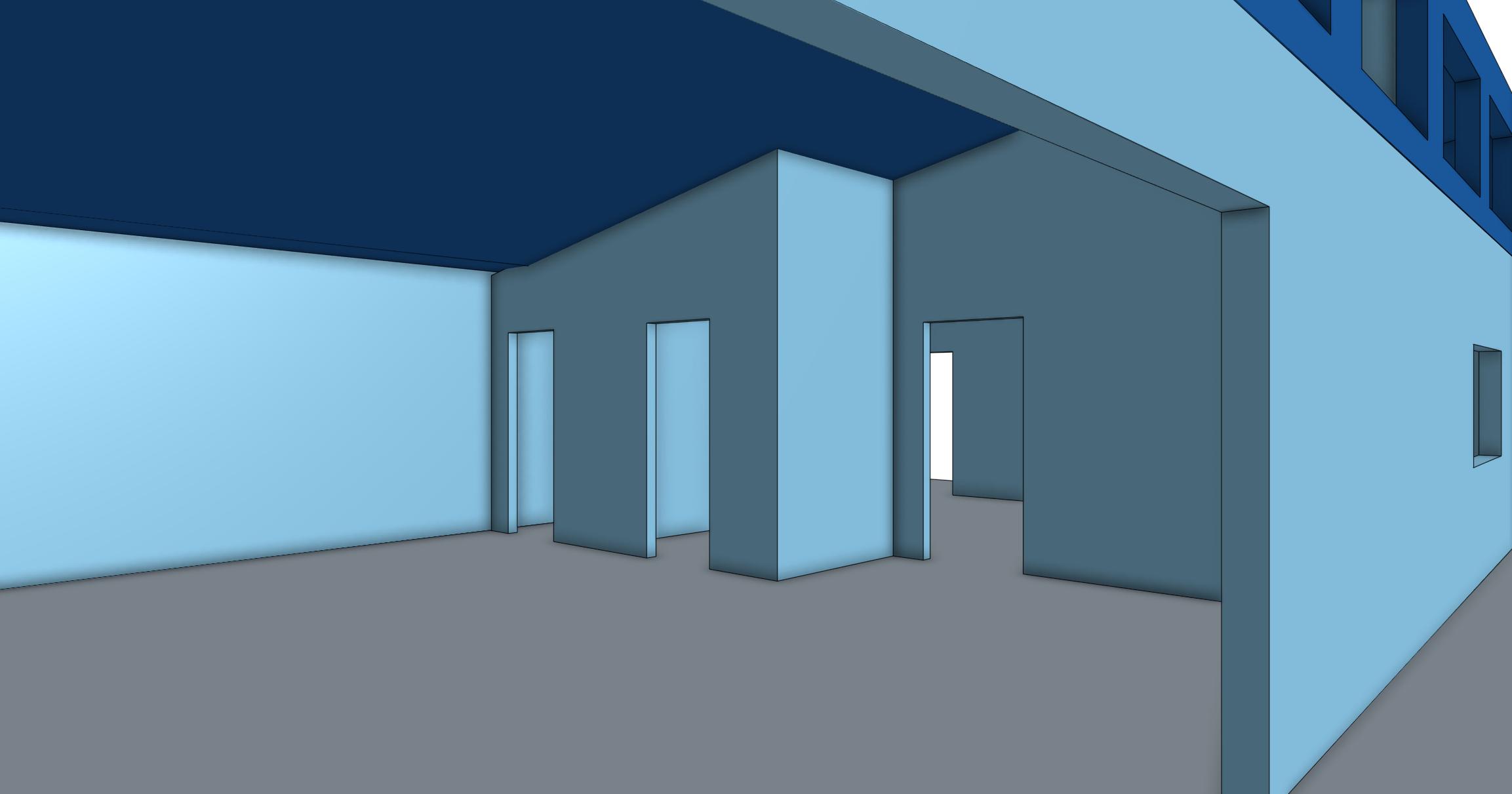 Looking into workshop area through garage door opening