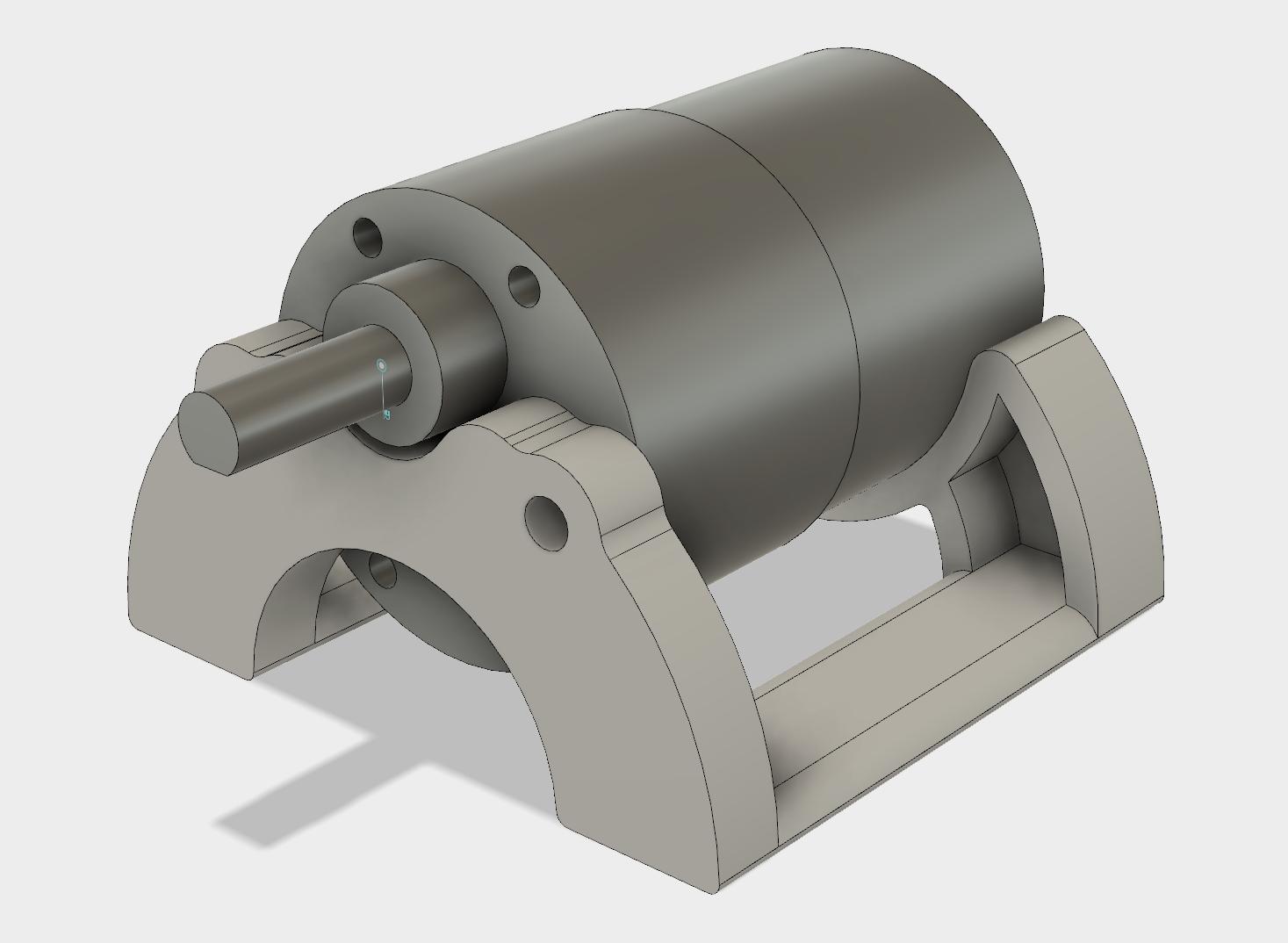 Motor sitting on new curvy base