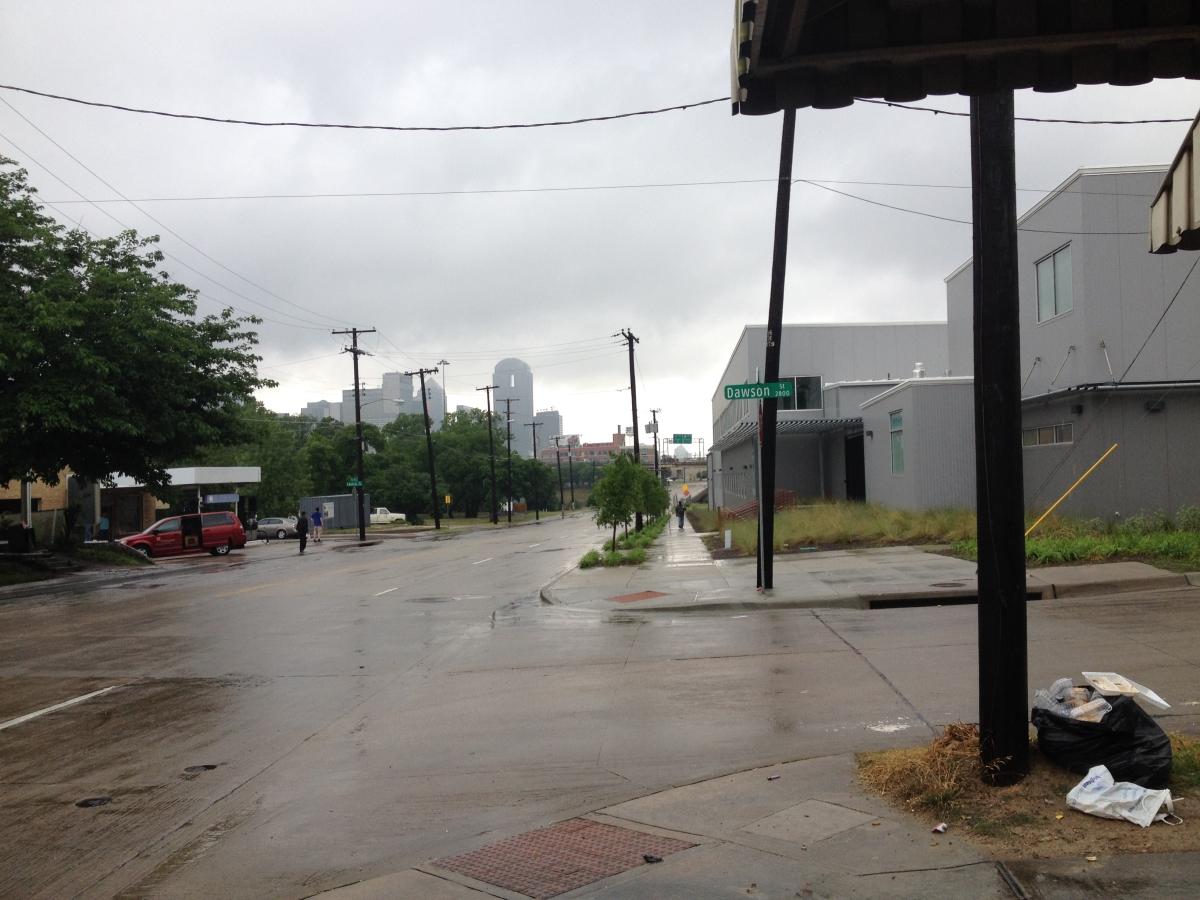 rainy day on the Corner