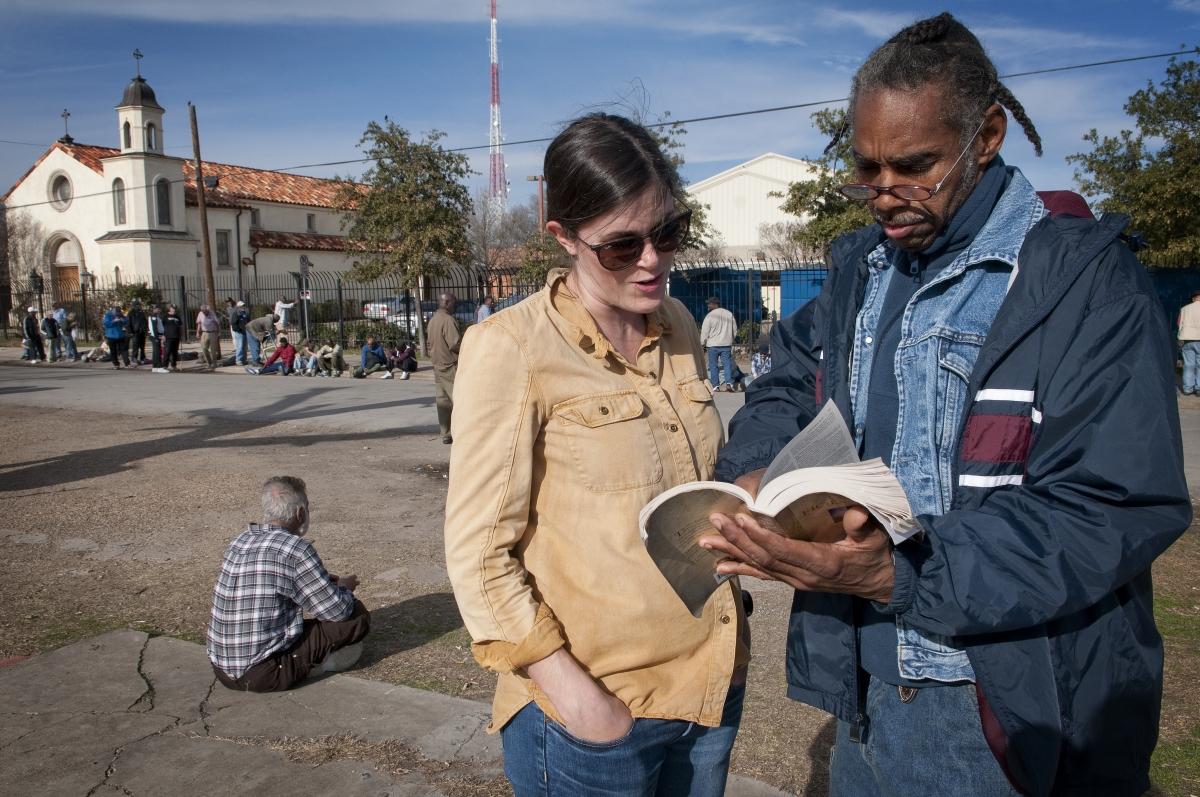 My friend Rachel and our friend John talking on the streets                  ChristenaDowsettPhoto.com