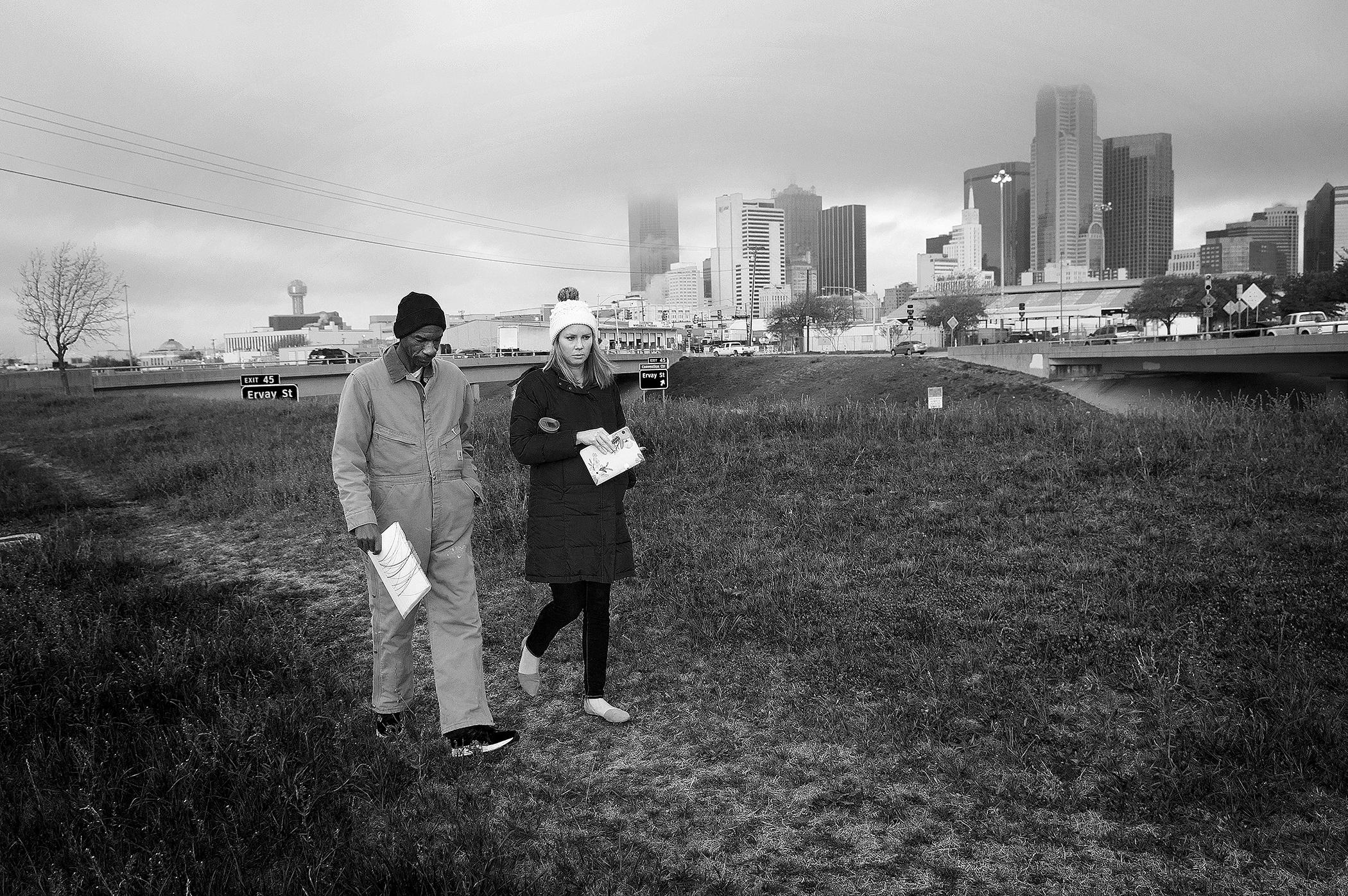 Photo by Christena Dowsett Crawford, left, and The Human Impact staff, Elisabeth Jordan, walk near downtown Dallas.