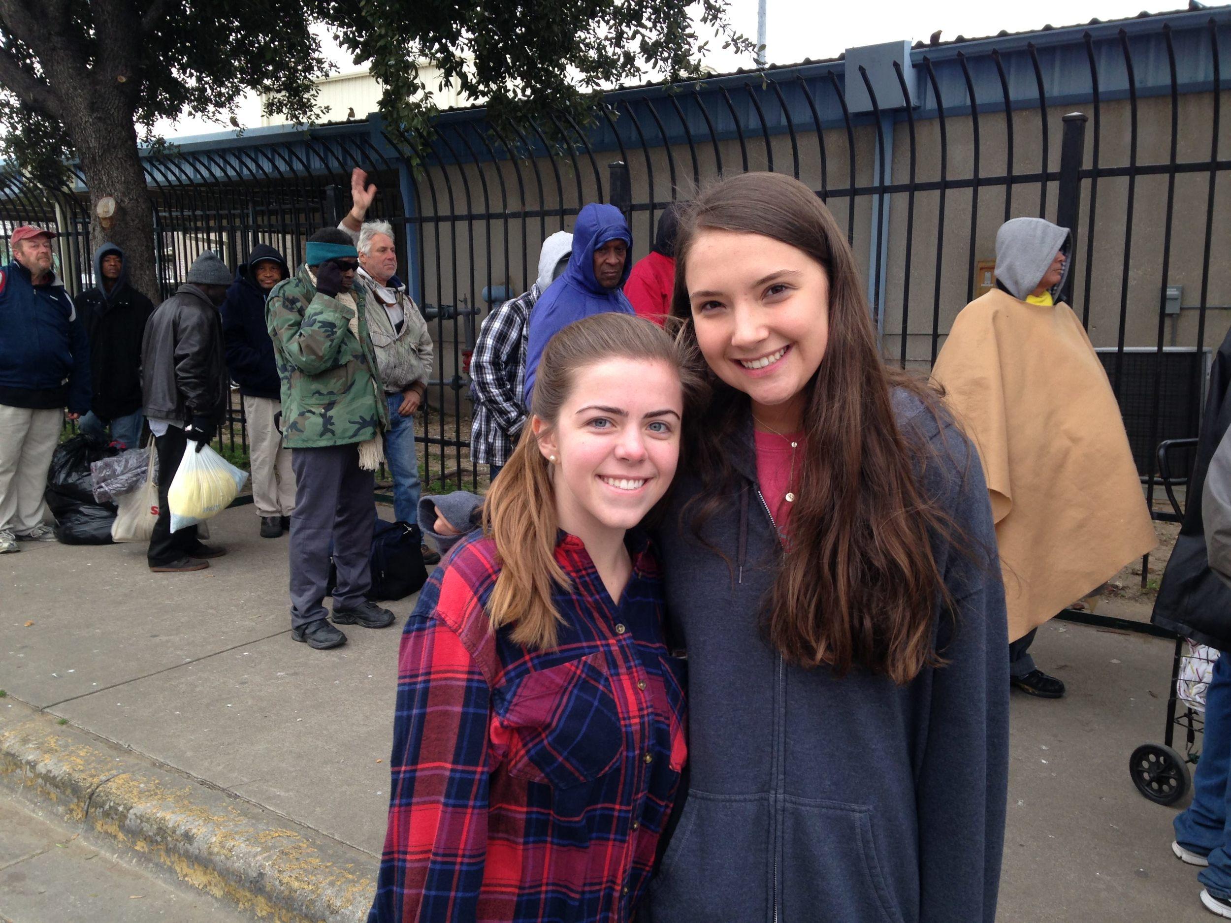 Caroline, Amanda in front of shelter.JPG