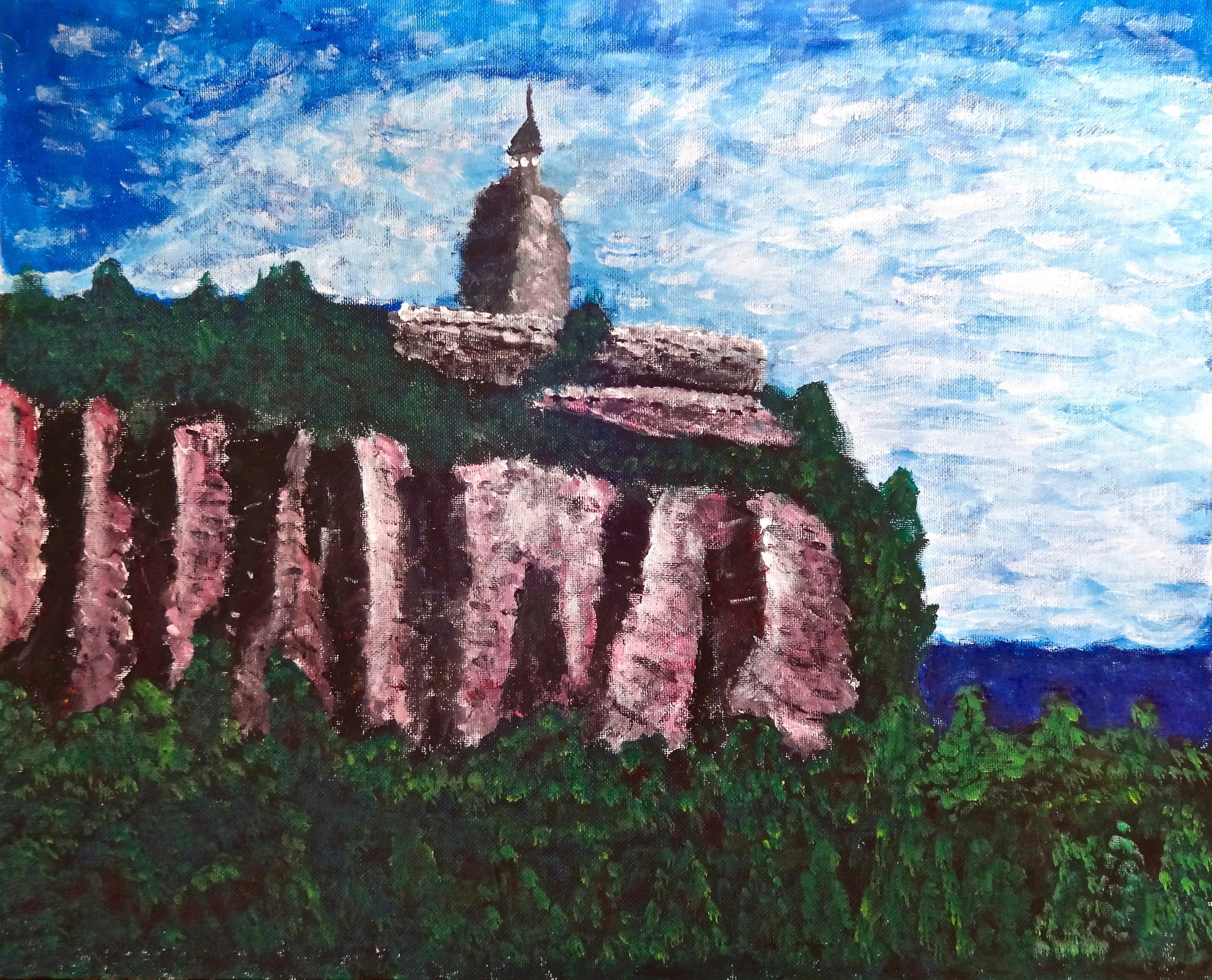 SKY TOP TOWER:Painting by Sylvain Koehler Foisy, age 13. 2015 (Used with permission.)