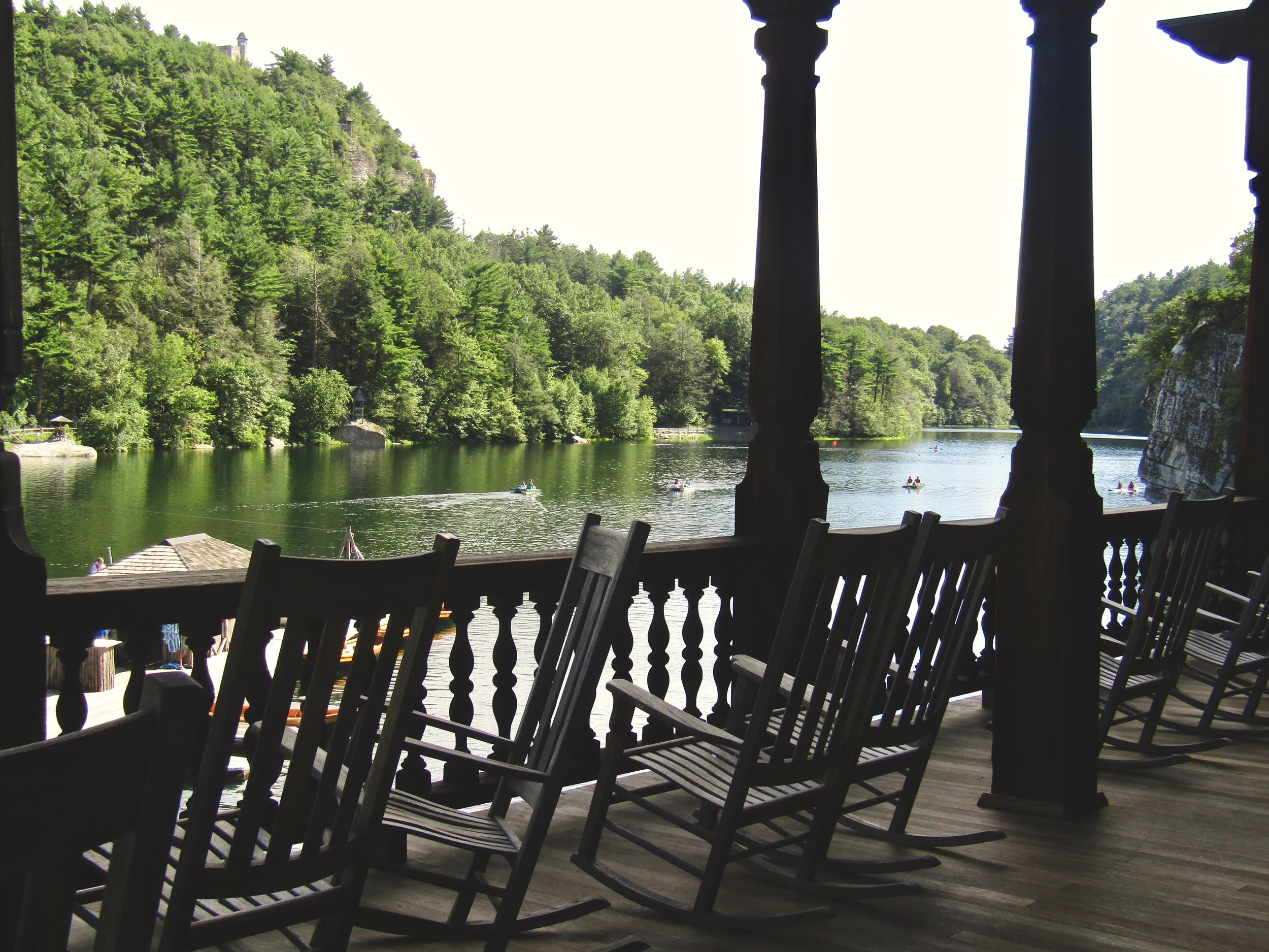 Rocking chairs overlooking Mohonk Lake. (Koehler photo)