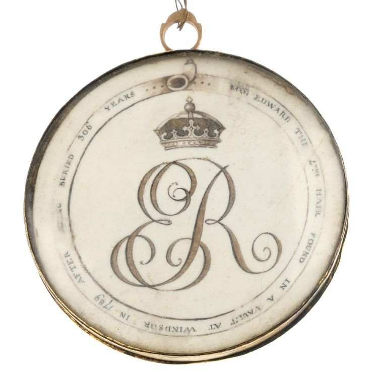 victorian pendant w King Edward IV hair taken from corpse in 1789 tomb open.jpg