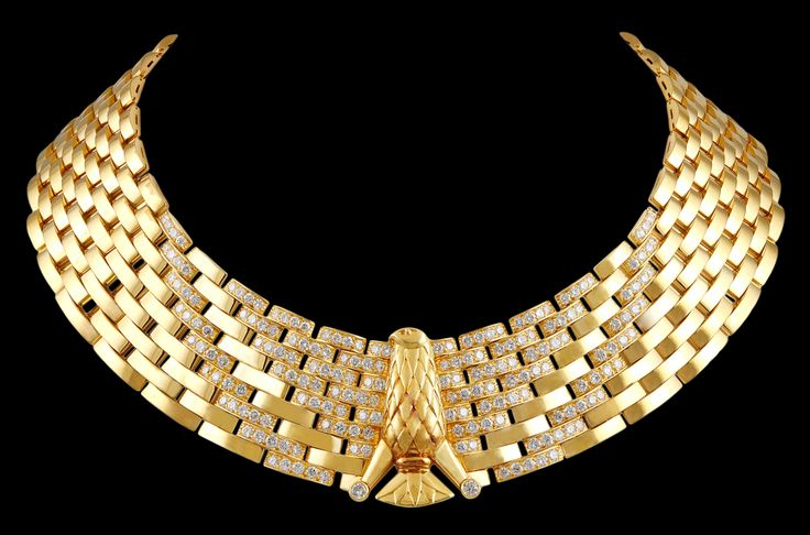 CARTIER Egyptian Revival Diamond Gold Eagle Necklace | From a unique collection of vintage choker necklaces.jpg