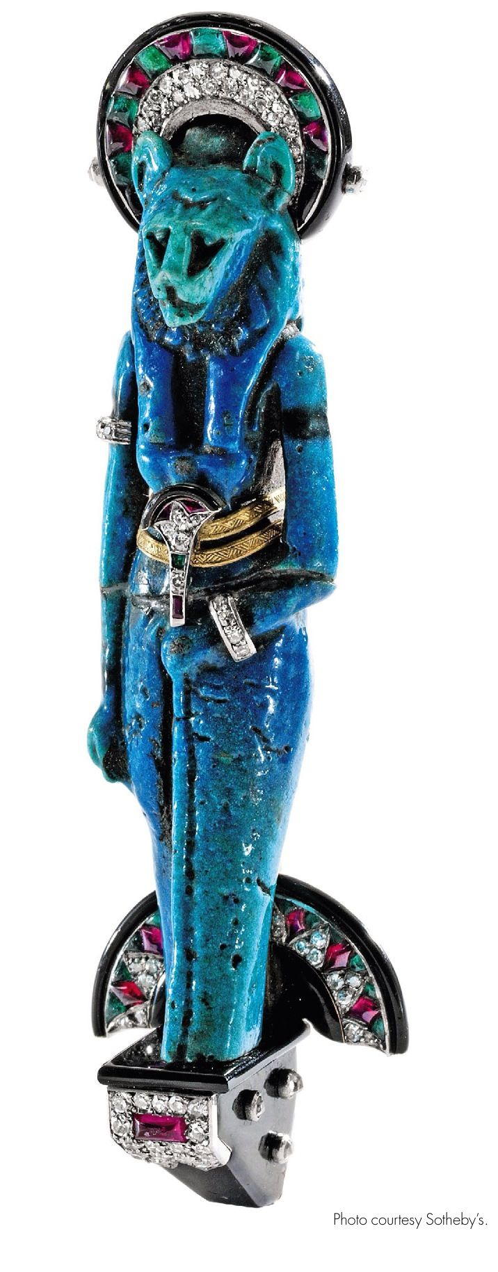 Goddess Sekhmet brooch, Cartier. Egyptian, type of quartz ceramic thought to be 2500-3000 year old..jpg