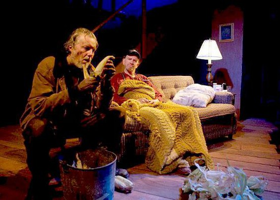 """SAM SHEPARD IN REP/ Boxcar Theater/ 2012   """"""""Even the physical foundation of their home is no longer stable: it creaks so vociferously (Theodore J.H. Hulsker did the sound design) as to become a character in its own right.""""   -Sfweekly    """"and a choice, eerie sound design by Theodore J.H Hulsker — adds tangible weight and texture to the play's radiant dialogue""""   -SFBG"""