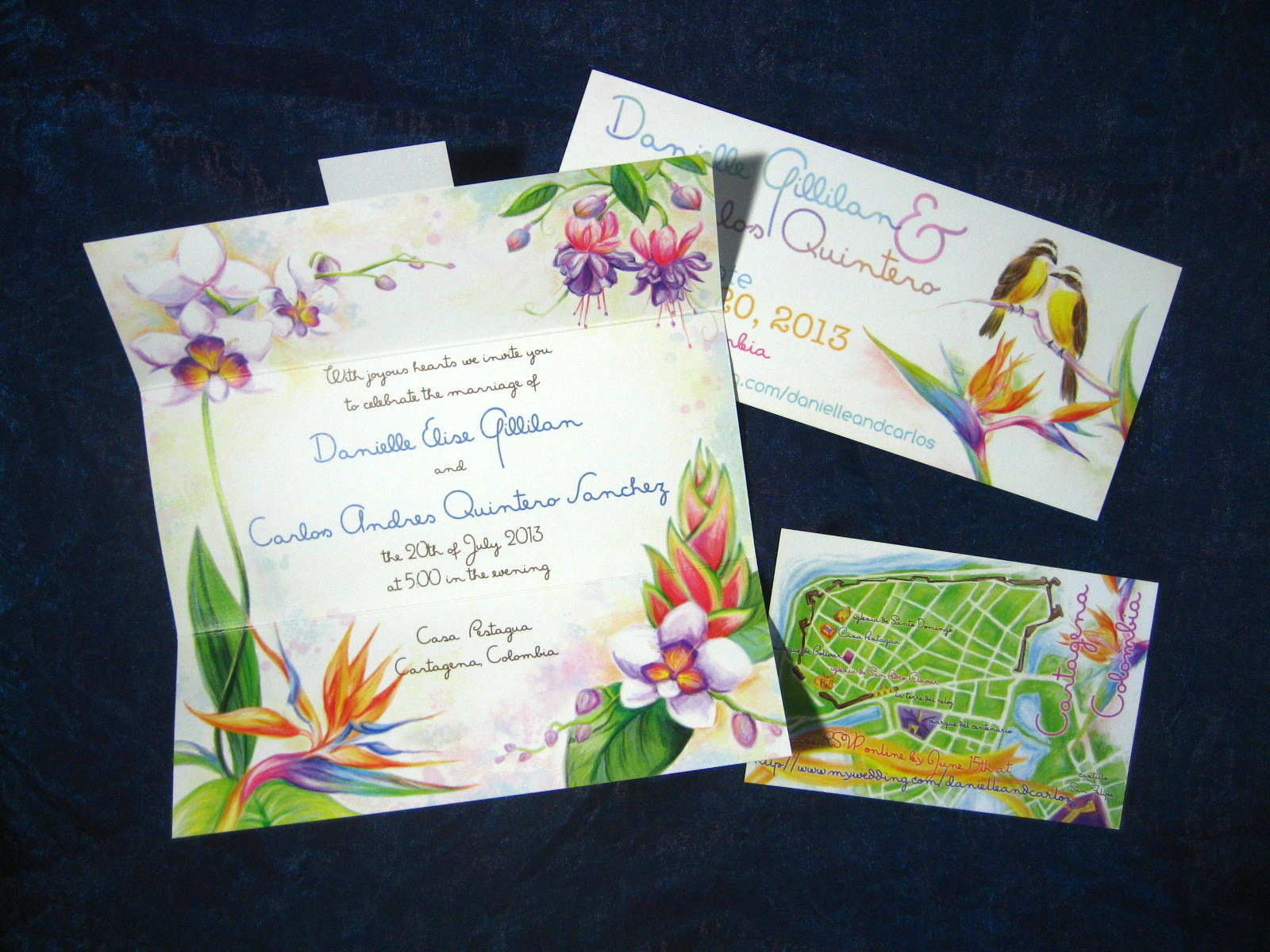Tropical wedding suite with invitation, map card, and save the date, digitally watercolor painted  Proton Paperie & Press