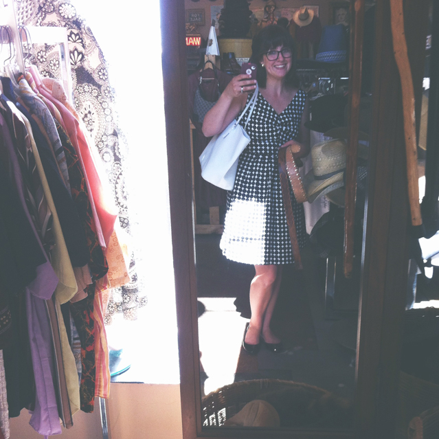shopping at Decades, a cute vintage clothing shop in SLC