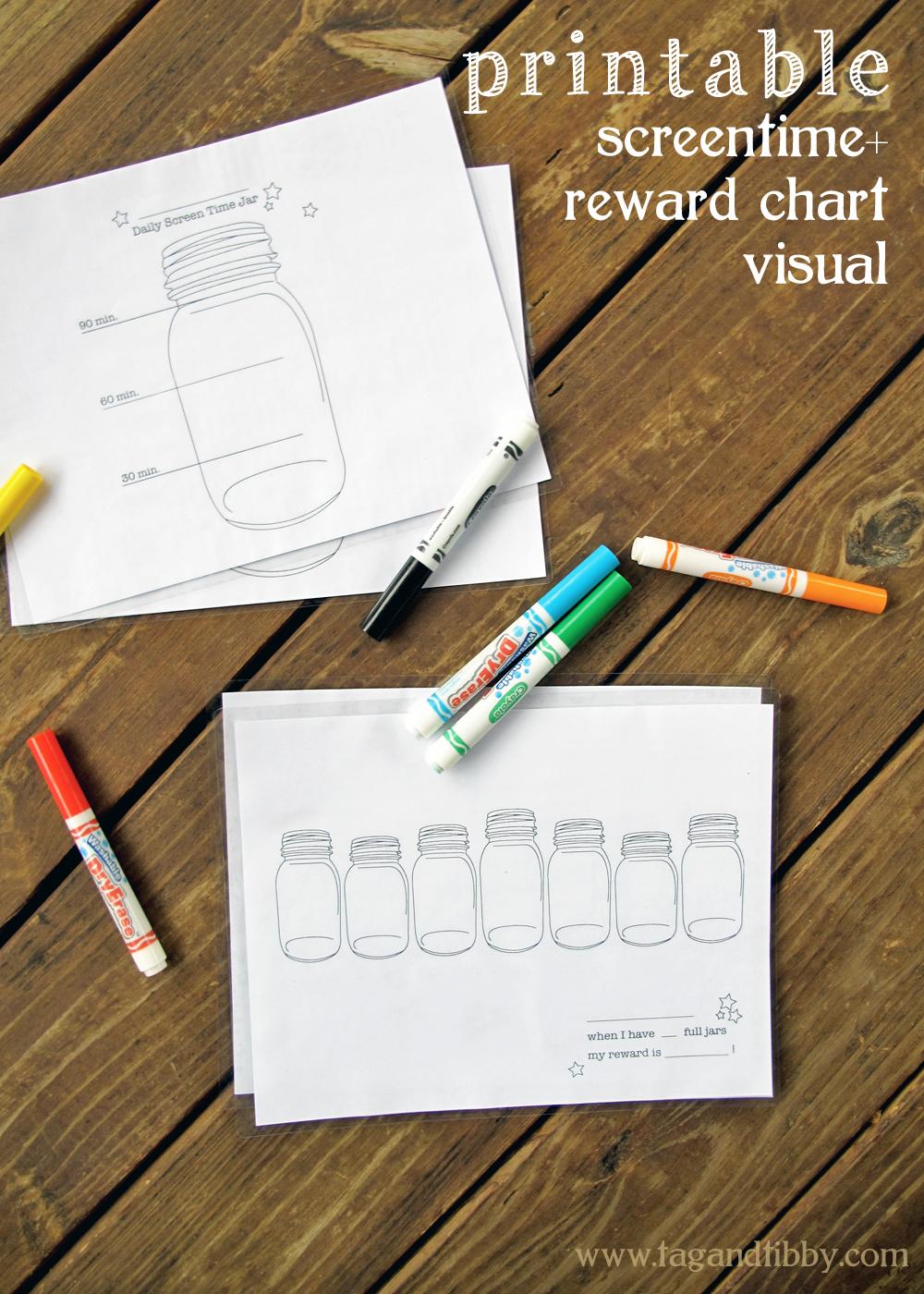 free printable! screen time and visual reward chart