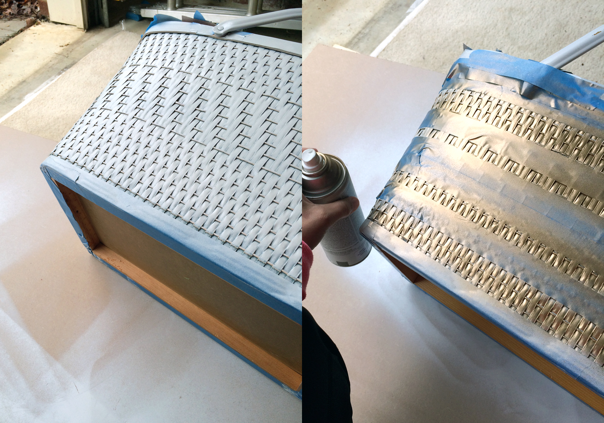 how to paint a gold picnic basket!