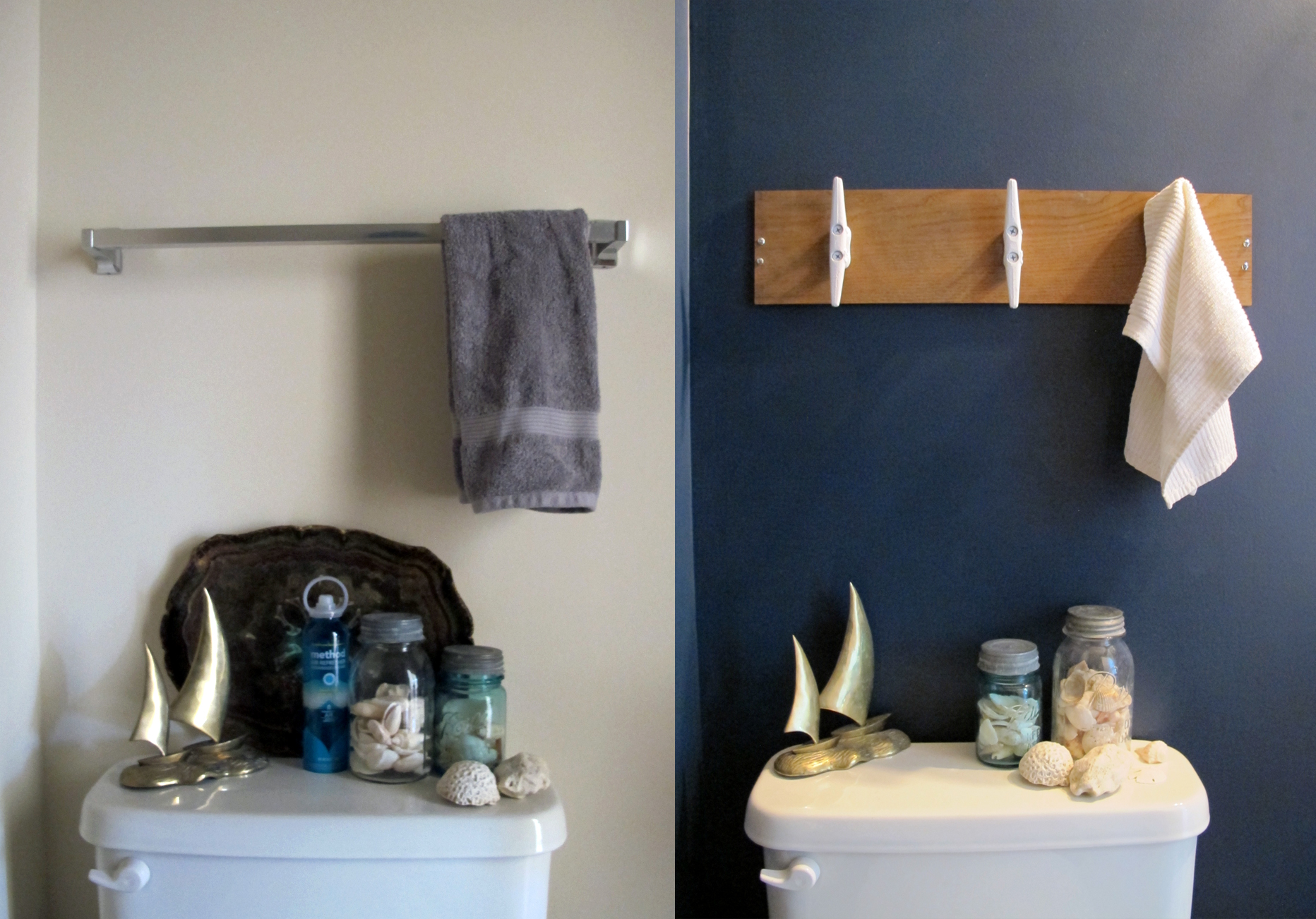 nautical towel bar with boat cleats