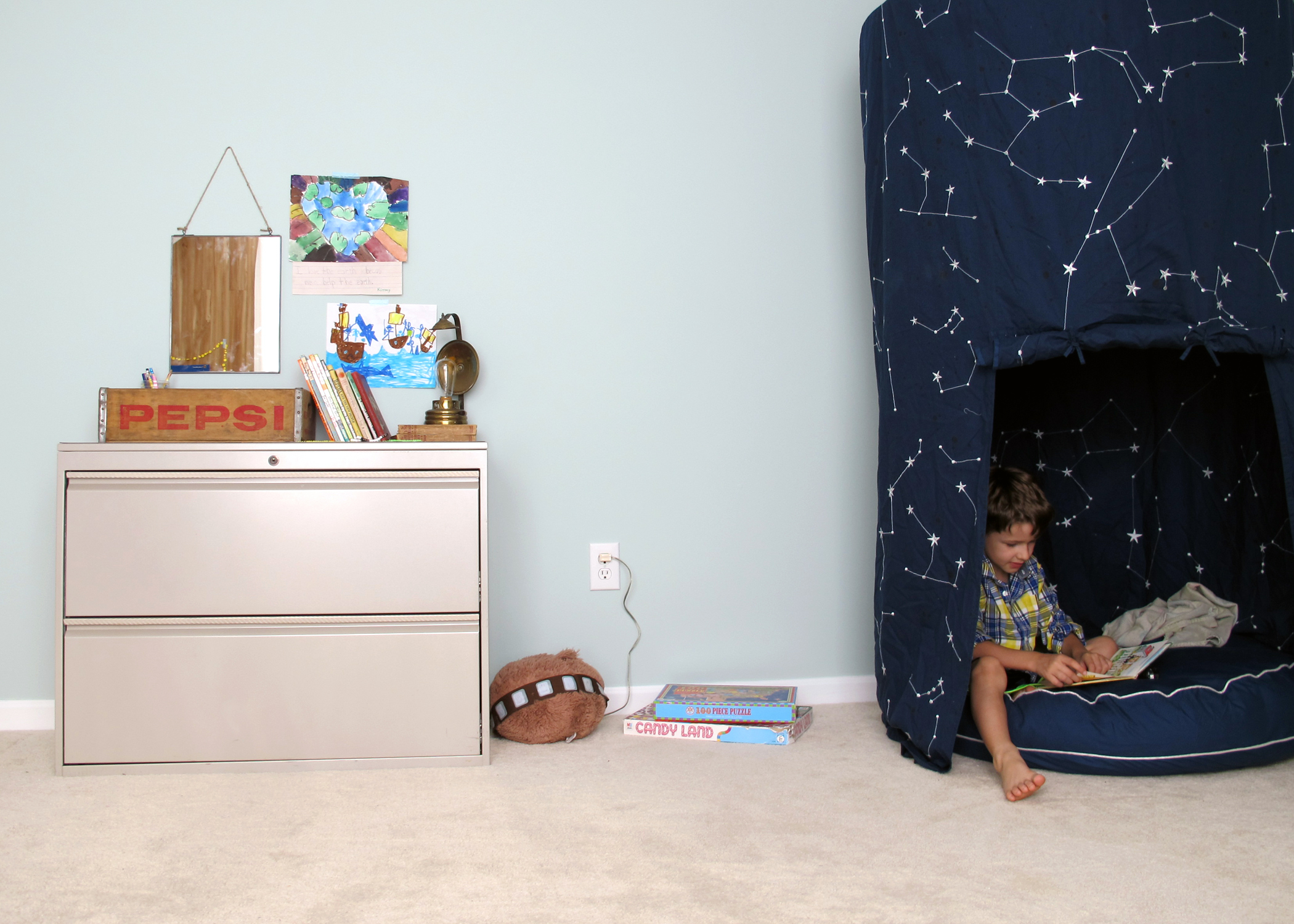 sensory friendly playroom with thrifted cabinet -tag&tibby