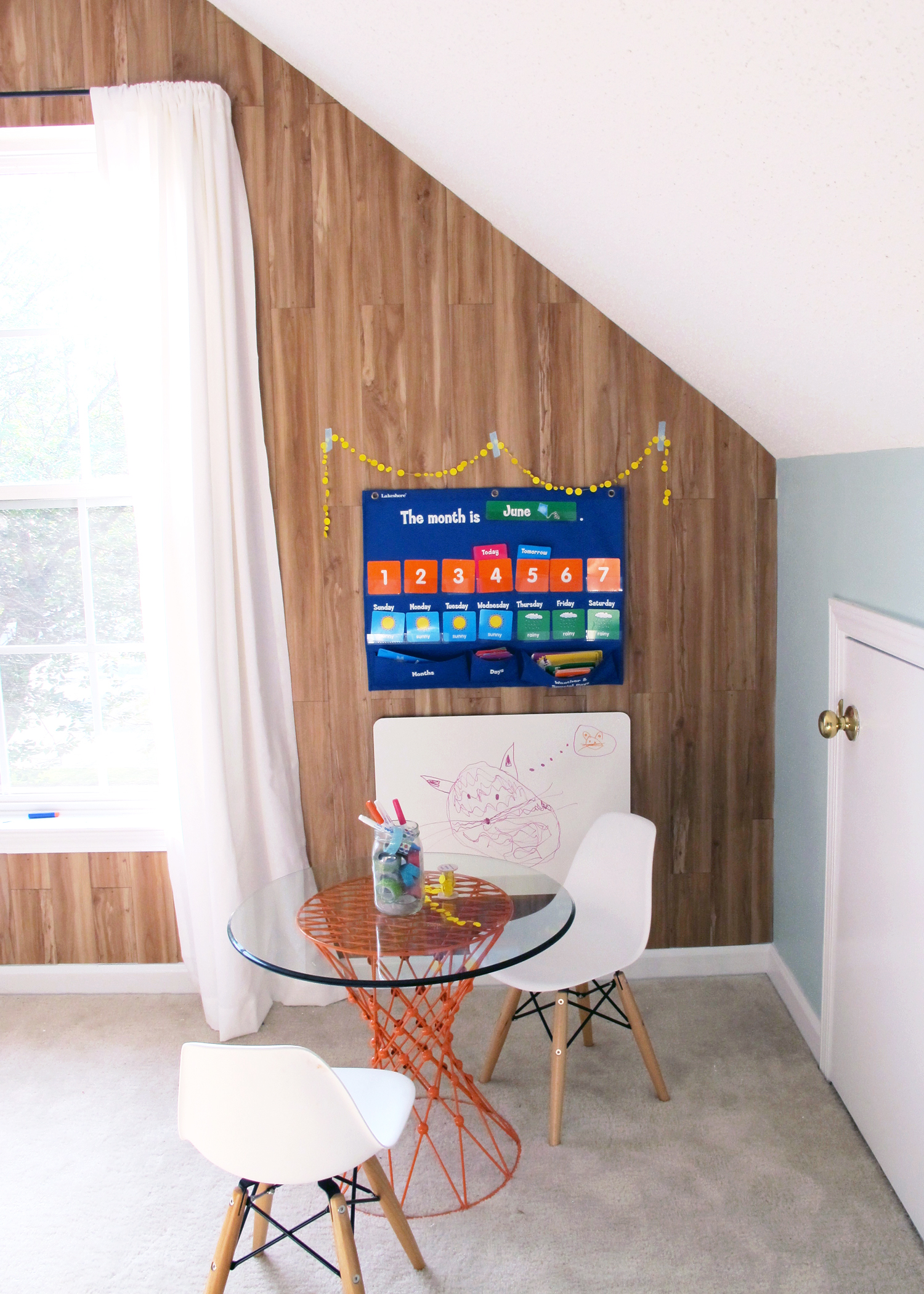 faux wood wall | playroom makeover!