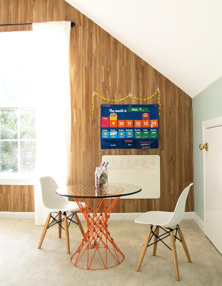 DIY faux plank wall using home improvement flooring!