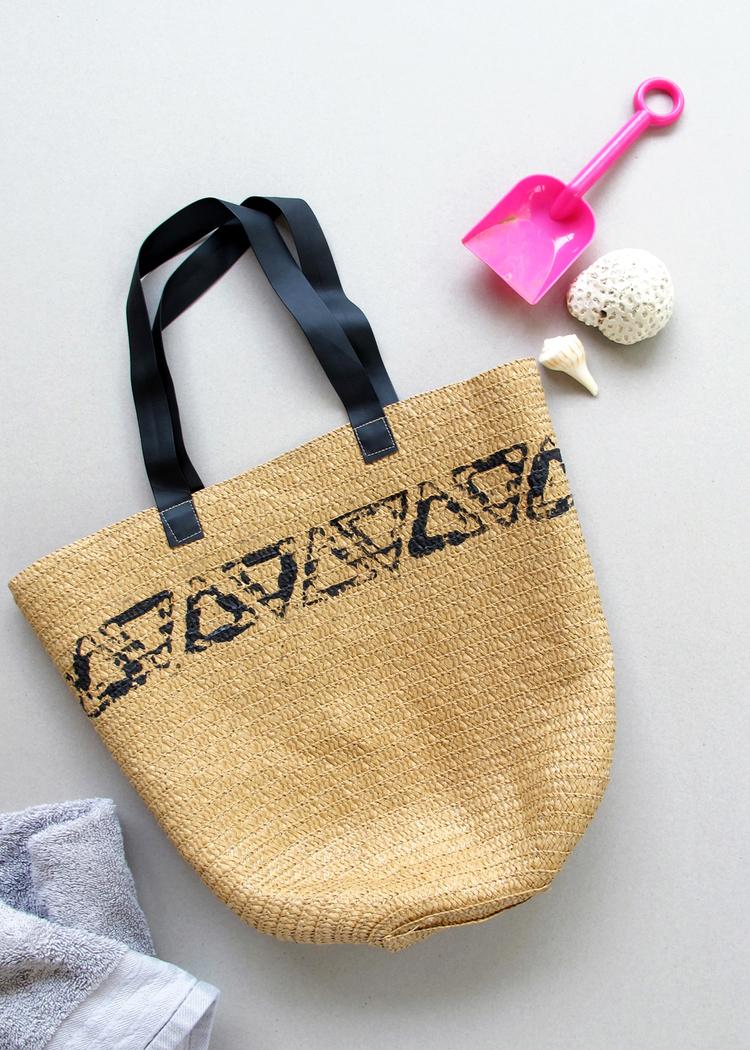 stamped beach bags tutorial