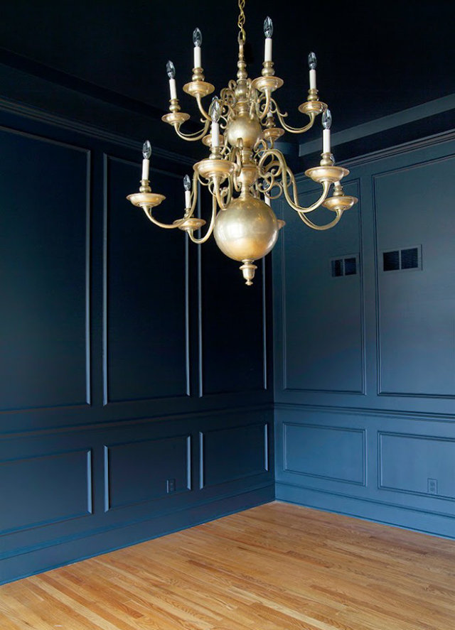 dark painted dining room by the makerista