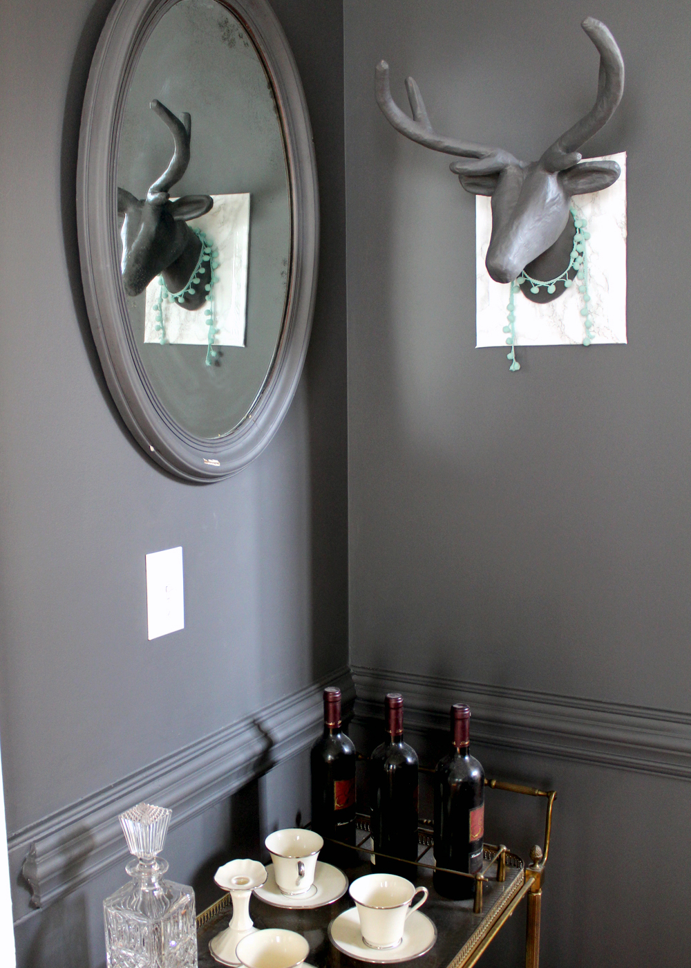 Sherwin Williams Peppercorn with vintage mirror and bar cart | tag&tibby