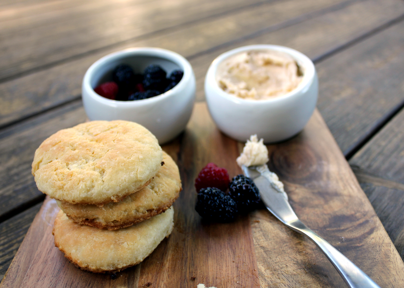 buttermilk skillet biscuits recipe with whipped honey butter