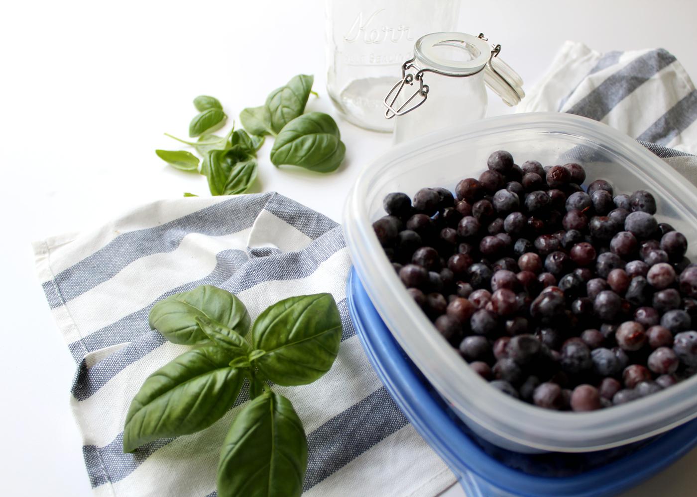 fresh blueberrries and basil
