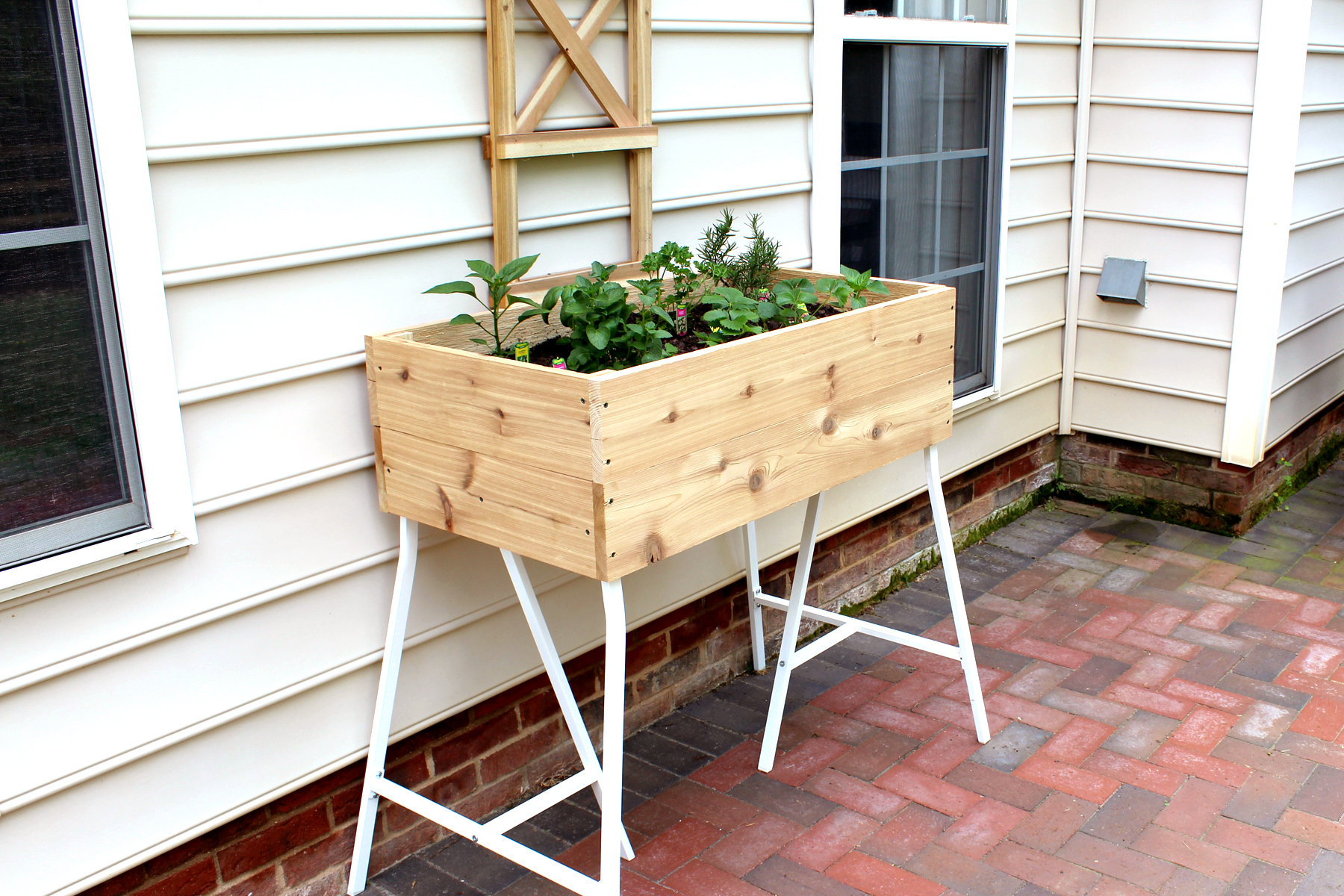 how to build a container garden from cedar and IKEA trestle legs
