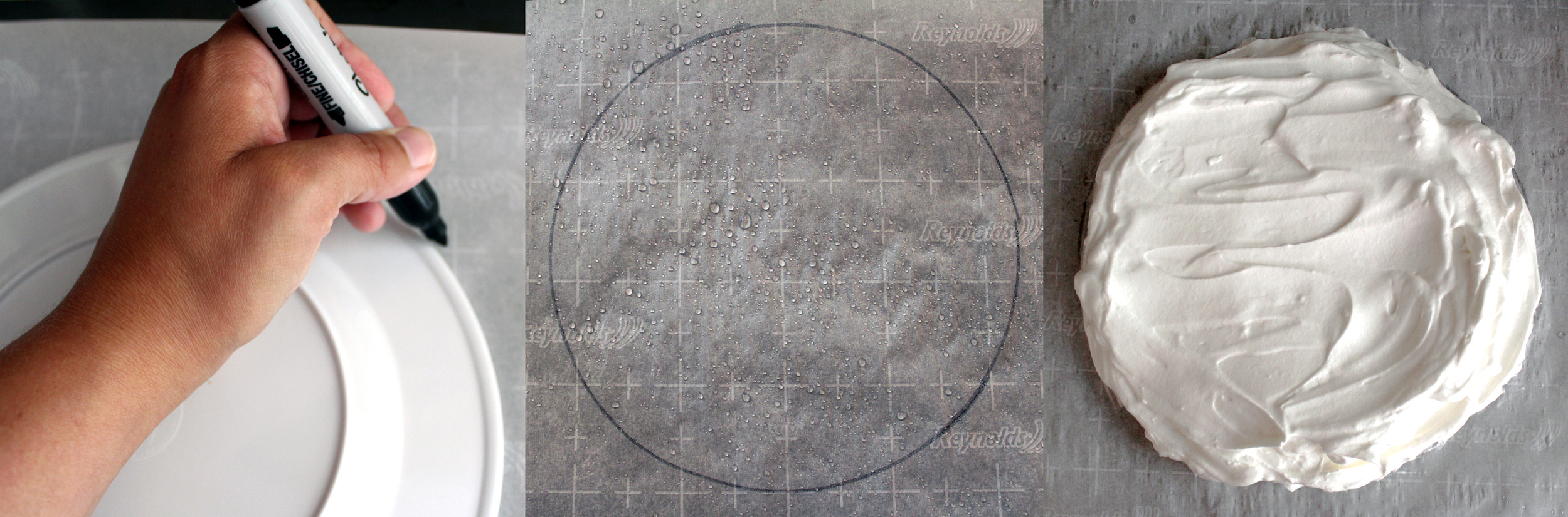 Trace a circle shape onto parchment paper, then flip before covering with pavlova mixture. Adding water to parchment paper will help prevent sticking.