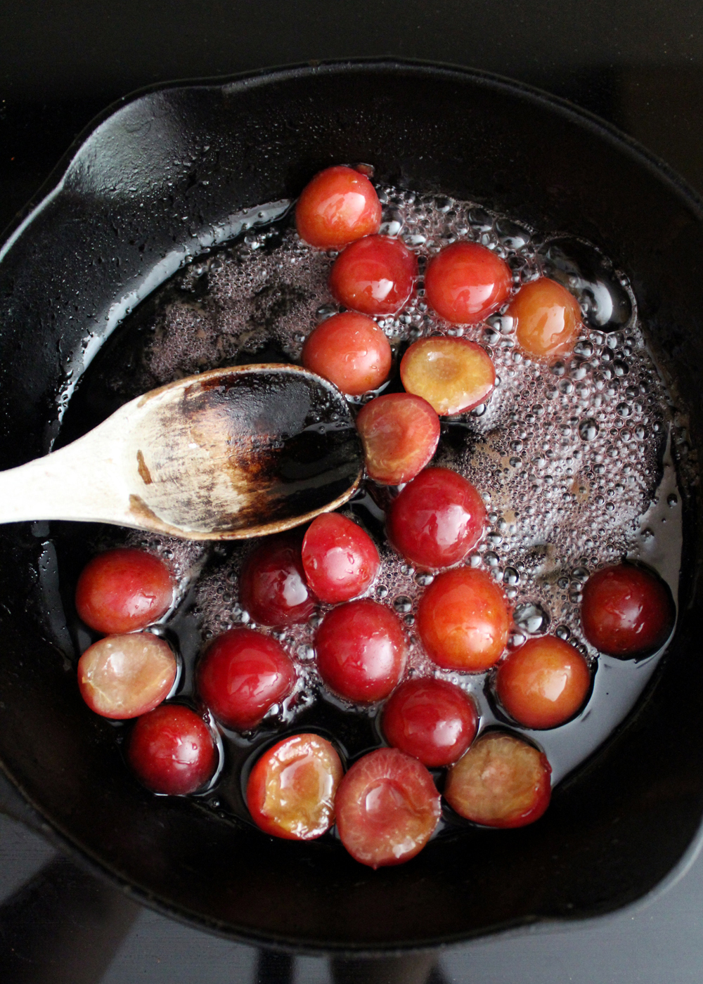 how to make a bourbon cherry sauce with sweet freckles cherries