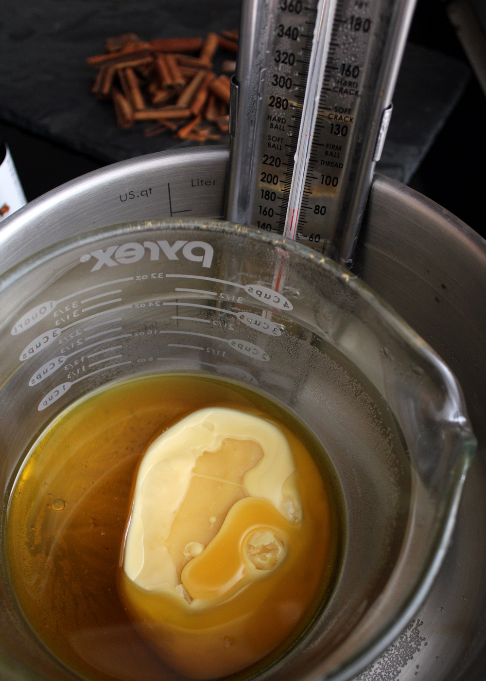 slowly melt beeswax on low heat