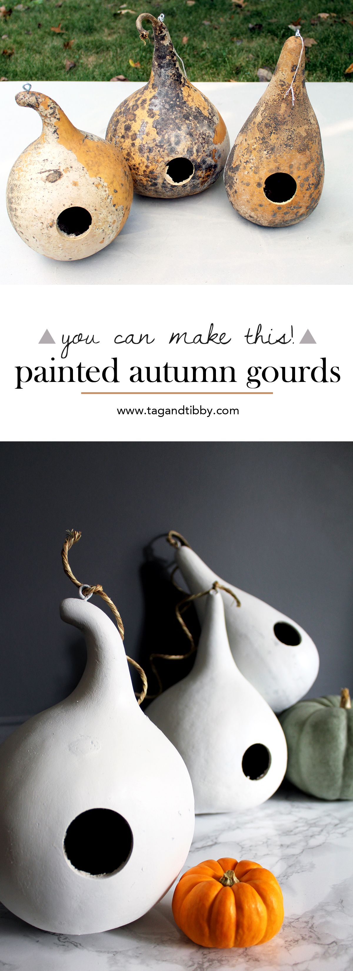 add style to your autumn gourds with white paint + grass string