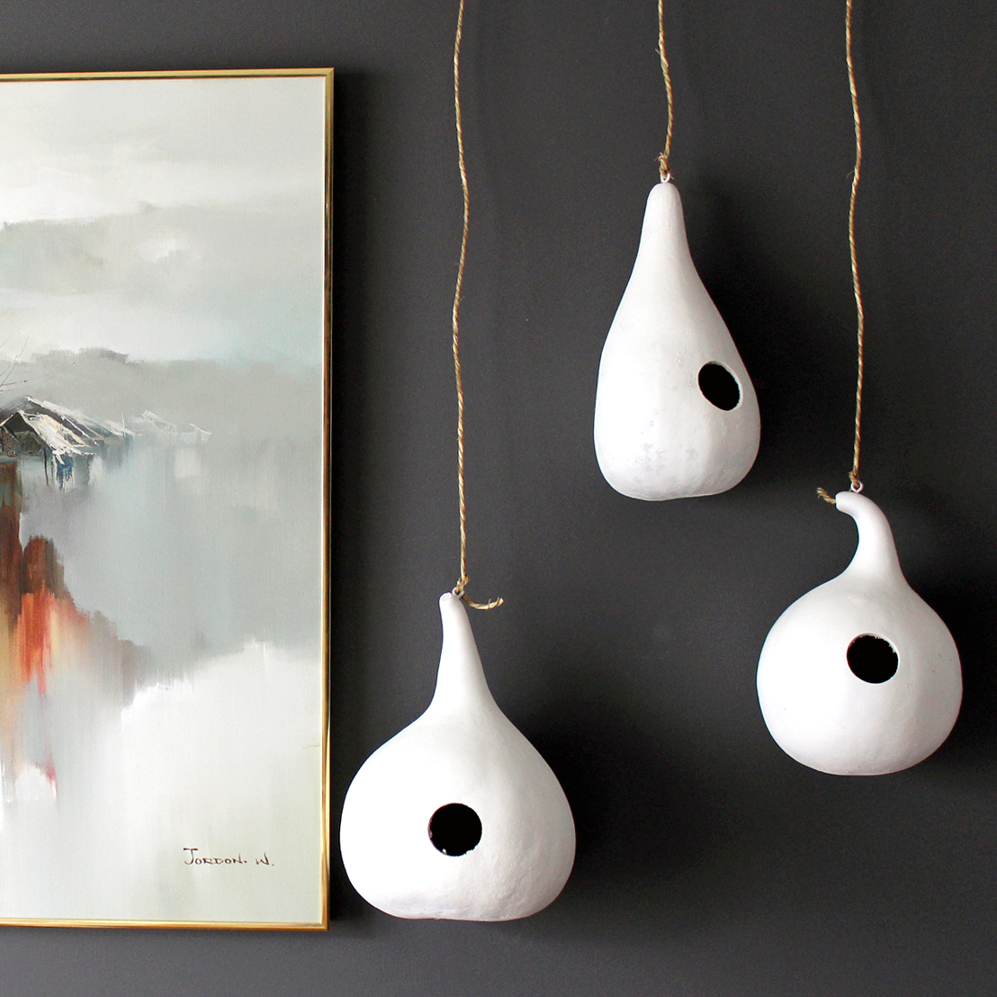 DIY birdhouse gourds painted white