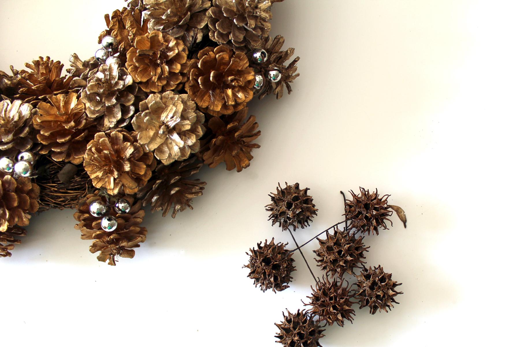 dried sweet gum balls to a wreath