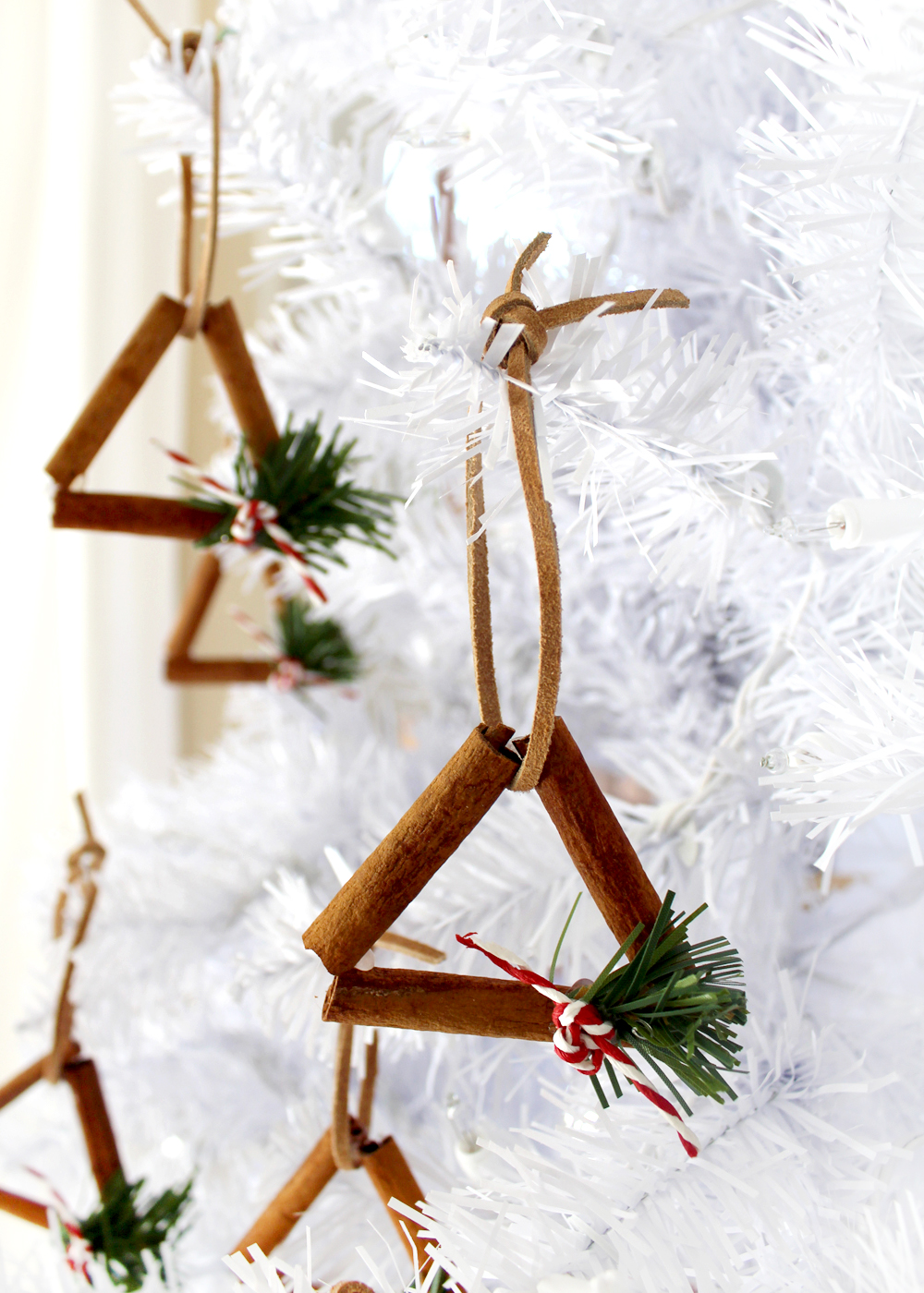 triangle cinnamon stick ornament tutorial