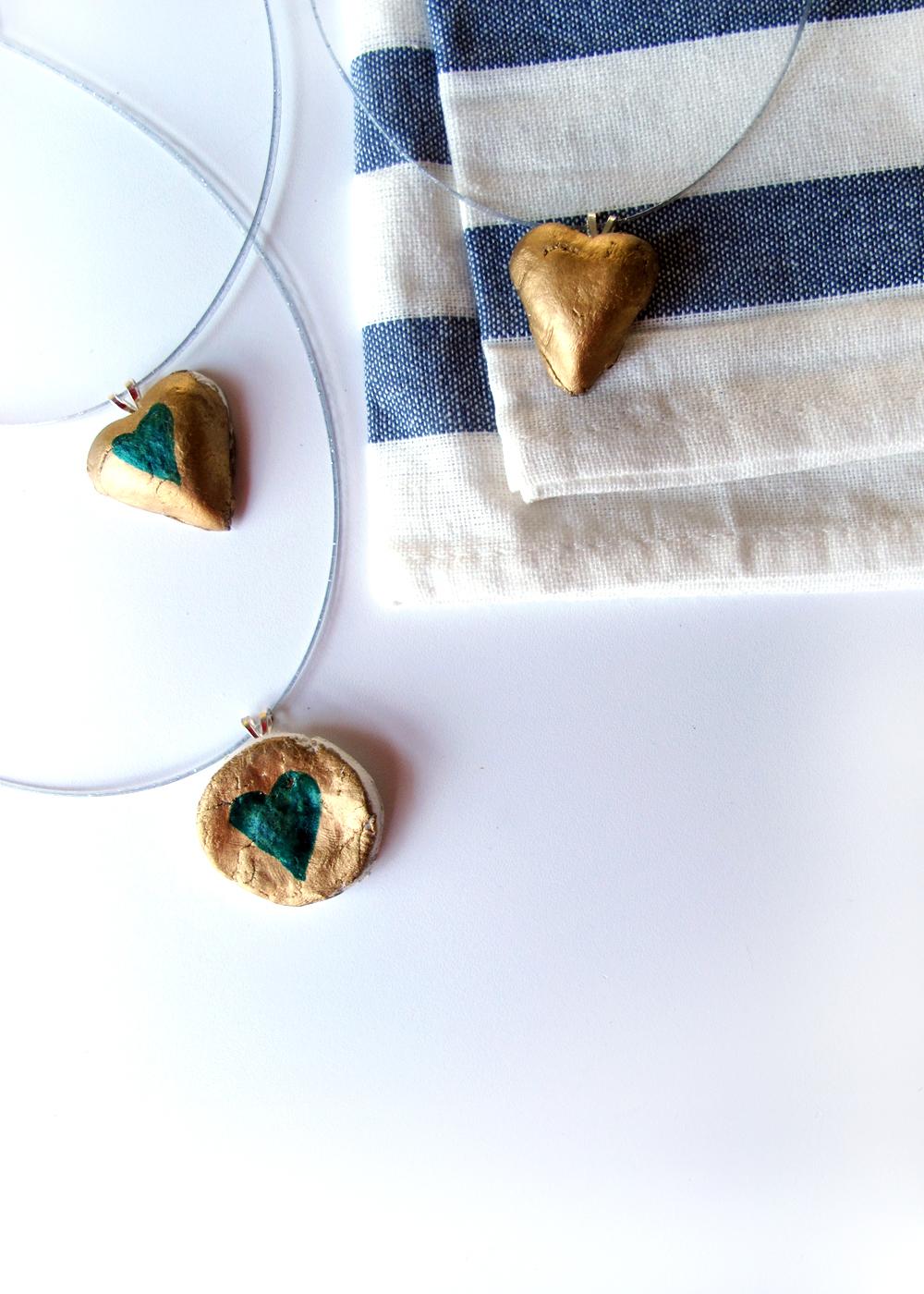 kids craft idea! DIY clay heart necklaces