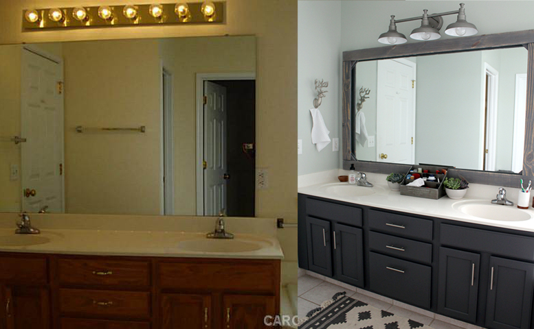 before and after of a $300 bathroom makeover