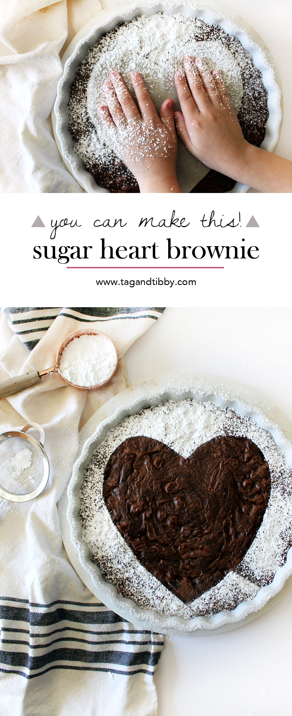 how to make a Valentine's brownie with a box mix and powdered sugar